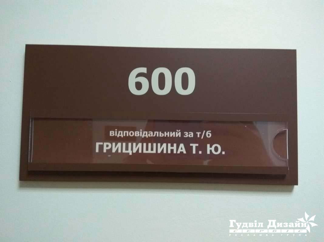 28.159 Табличка на кабинет под сменную информацию