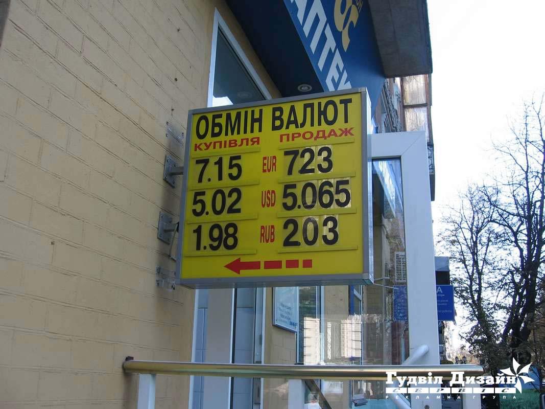 8.23 Лайтбокс для пункта обмена валют с кассой цифр