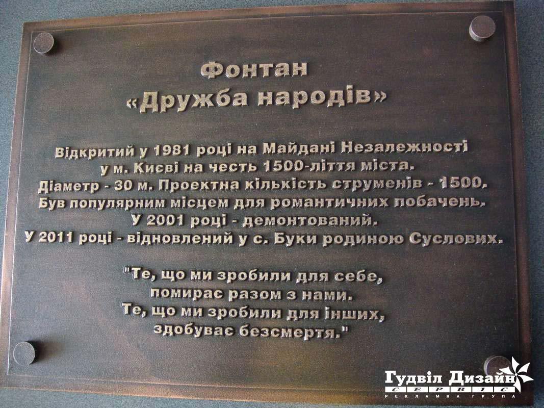 10.100 Табличка с литыми шрифтами на памятник