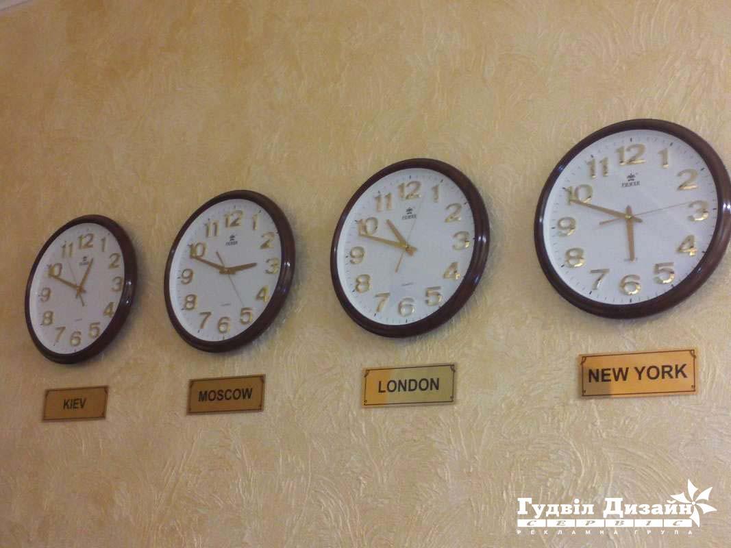 10.179 Таблички металеві з містами під годинник