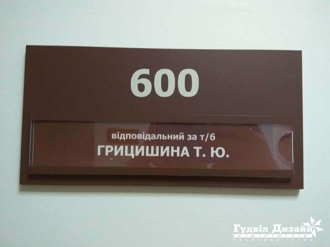 28.159 Табличка на кабінет під змінну інформацію