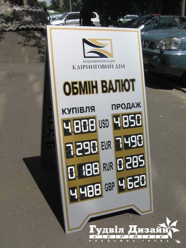 8.10 Виносне табло обміну валют з сегмент-цифрами
